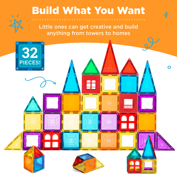 32-Piece Building Magnetic Tiles Set