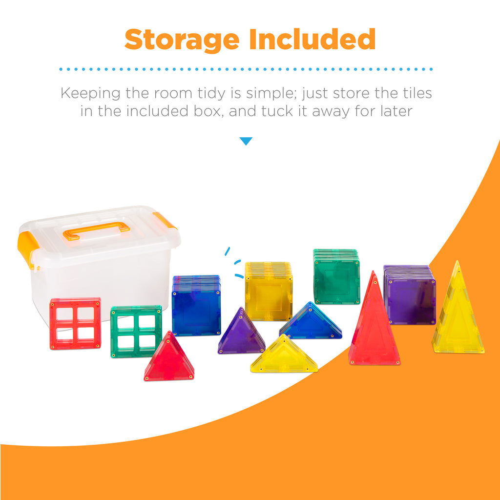 60-Piece Kids Mini Magnetic Tiles Educational STEM Toy Set w/ Carrying Case
