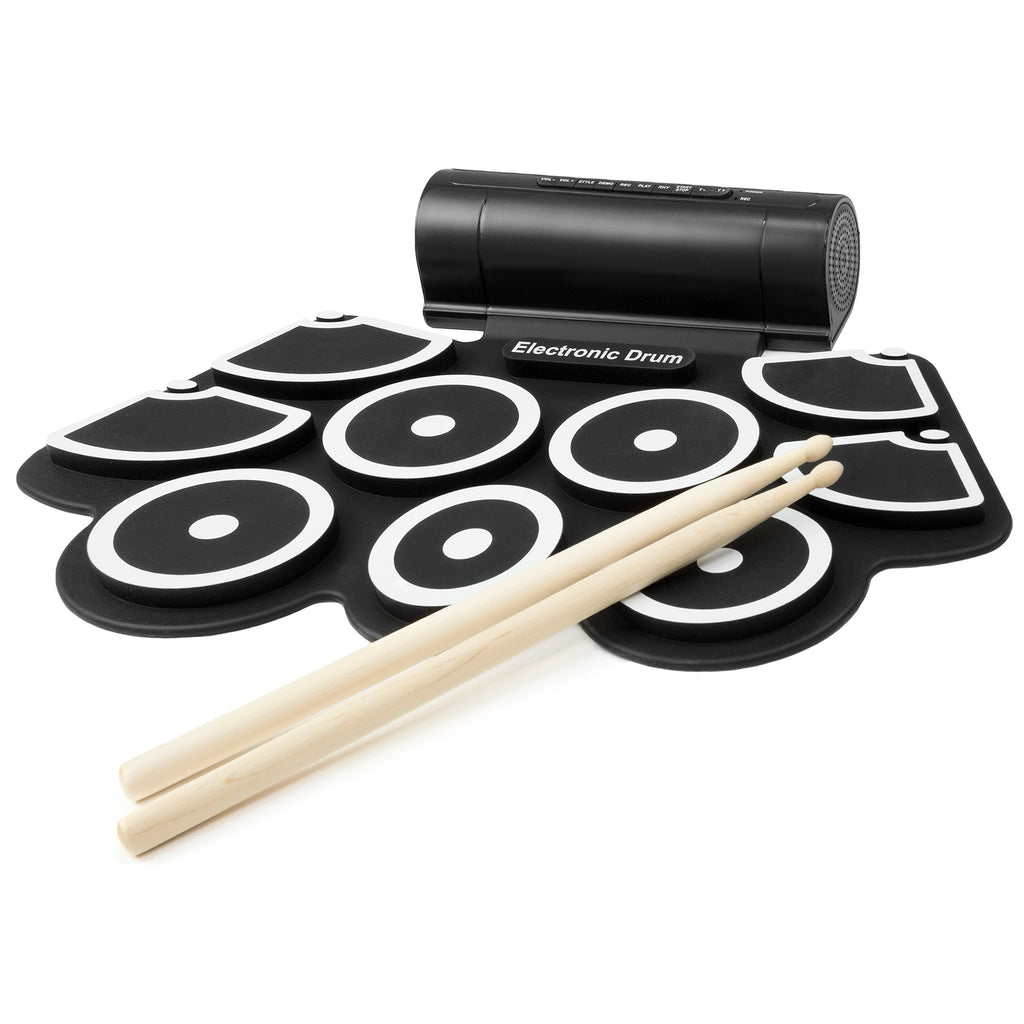 Foldable Electronic Drum Set w/ USB MIDI, Drumsticks - Black