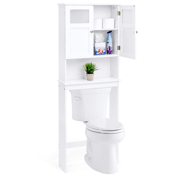 Over-the-Toilet Bathroom Storage Cabinet - White