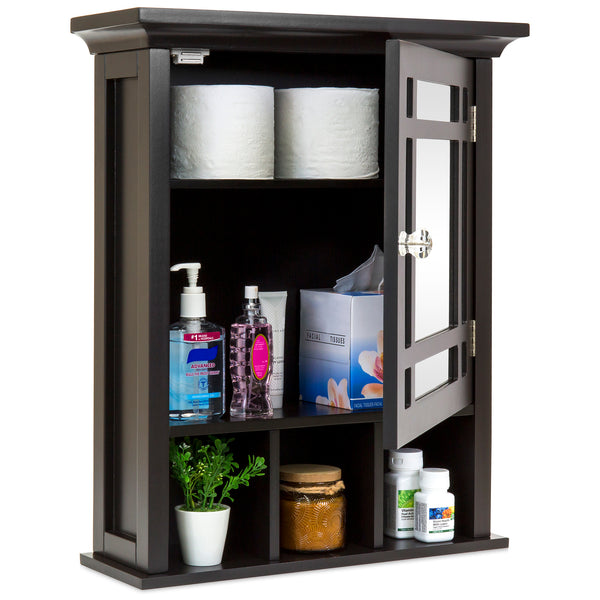 Bathroom Vanity Mirror Wall Storage Cabinet - Esspresso