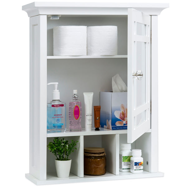 Bathroom Vanity Mirror Wall Storage Cabinet - White