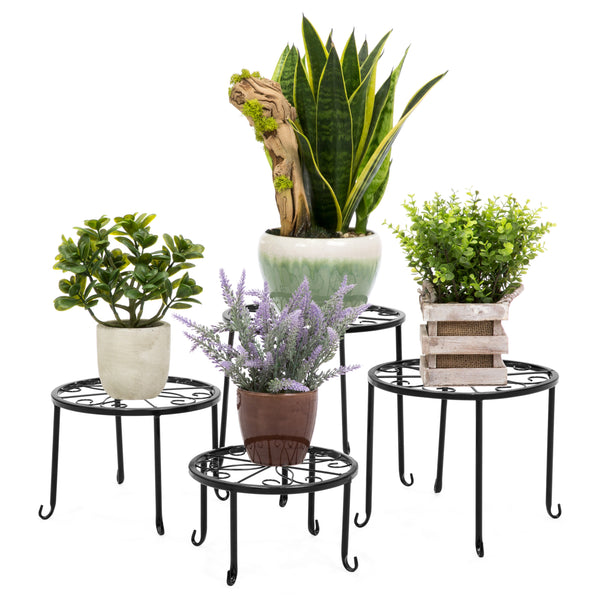 4-in-1 Flower Plant Pot Stand Set - Black