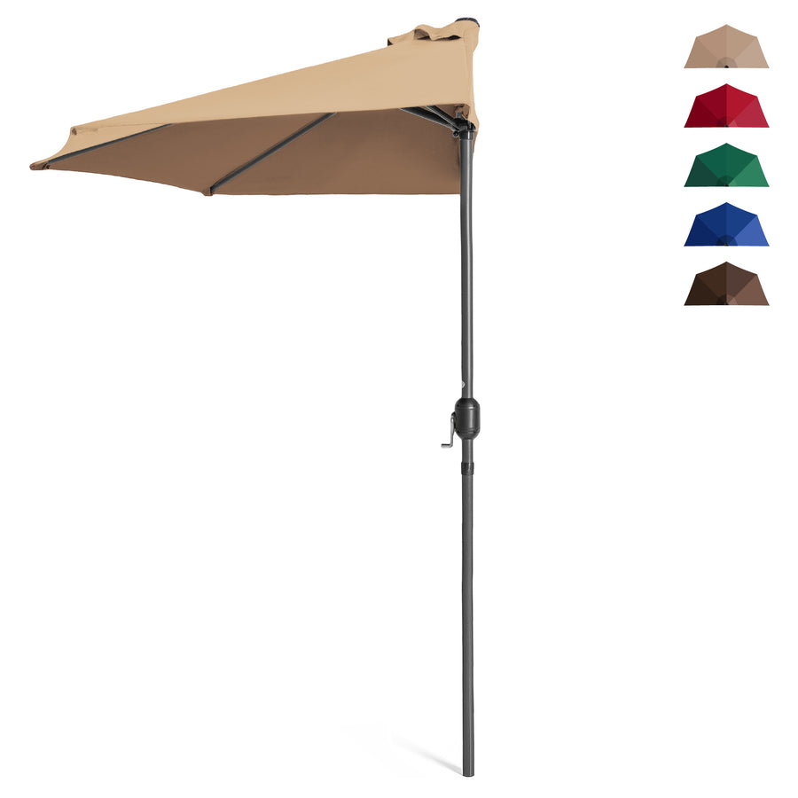 Charmant 9ft Half Patio Umbrella W/ Crank   Brown