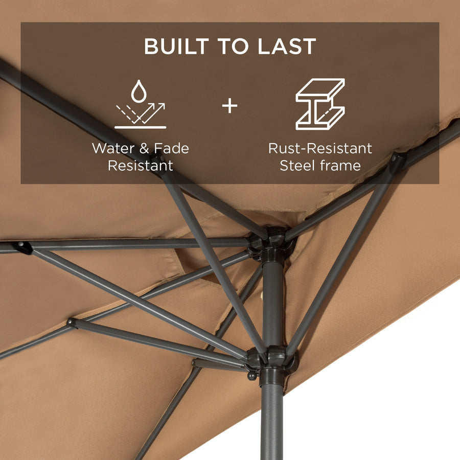 Best Choice Products 9ft Steel Half Patio Umbrella w/ Crank