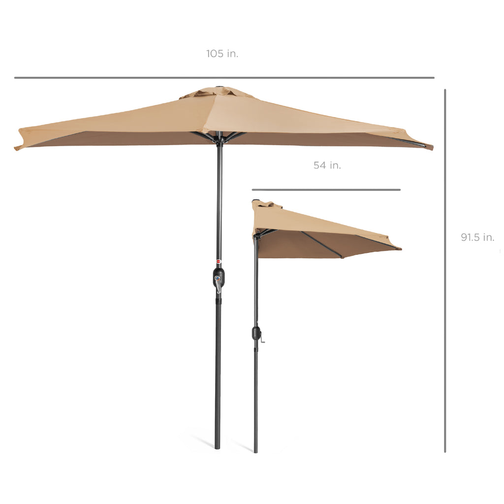 9ft Half Patio Umbrella w/ Crank