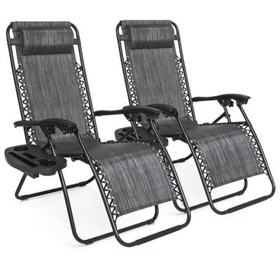 Best Choice Products Zero Gravity Chairs Case Of (2) Lounge Patio Chairs Outdoor Yard Beach- Heathered Gray