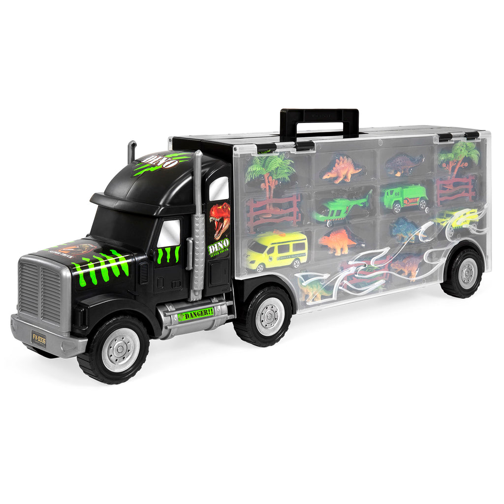 16-Piece 22in Kids Semi-Truck Carrier Toy Set w/ 3 Cars, 6 Dinosaurs