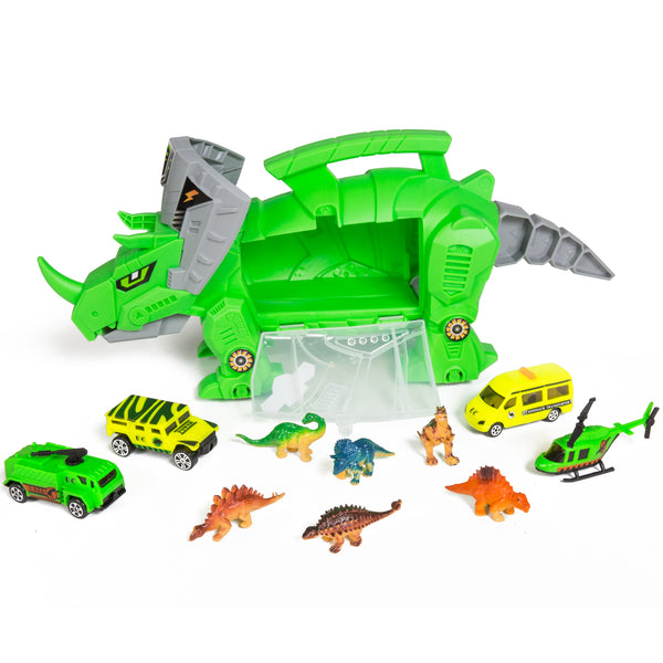 Kids Triceratops Toy Car Carrier w/ 4 Vehicles, 6 Dinosaurs
