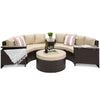 8-Piece Half Circle Wicker Sectional Sofa - Brown