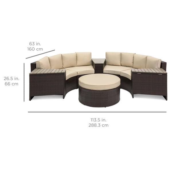 8-Piece Half Circle Wicker Sectional Sofa