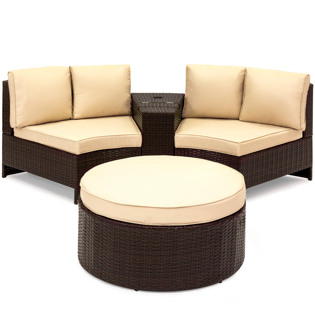 4-Piece Wicker Sectional Sofa Set - Brown