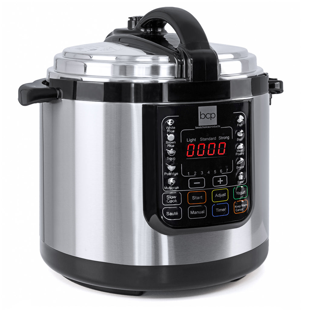 6L 1000W Stainless Steel Electric Pressure Cooker - Silver
