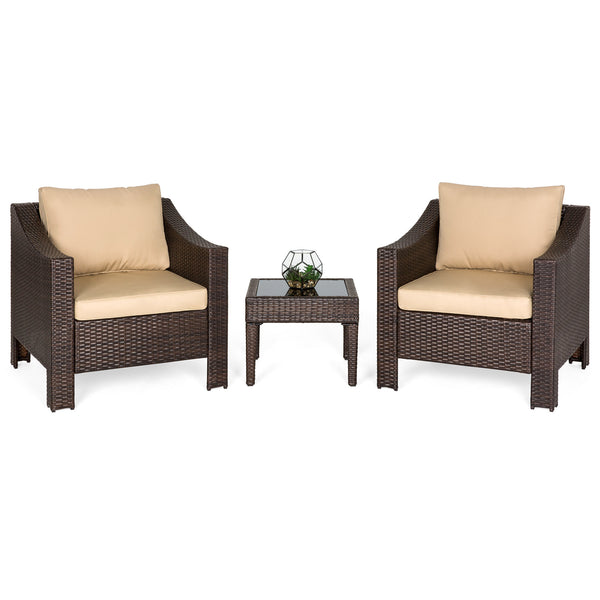 2-Piece Wicker Club Patio Chair