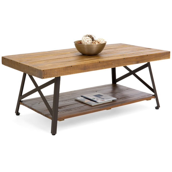 Cocktail Wooden Coffee Table for Living Room Den (Brown)
