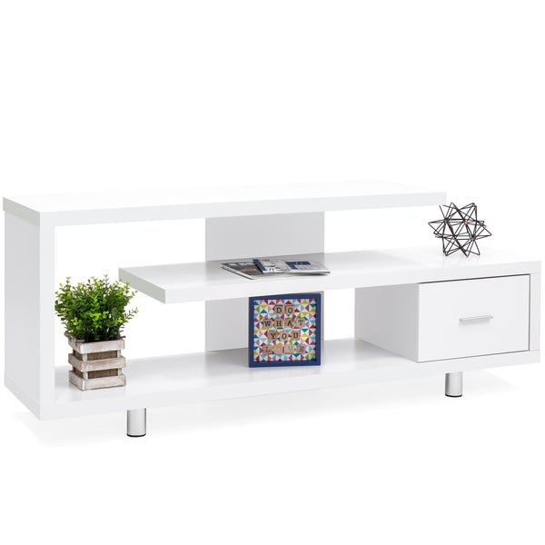 TV Stand Media Console Select Channel for Home Entertainment Systems - White