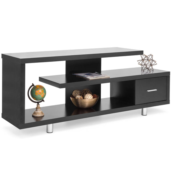 TV Stand Media Console Wooden Design (Black)