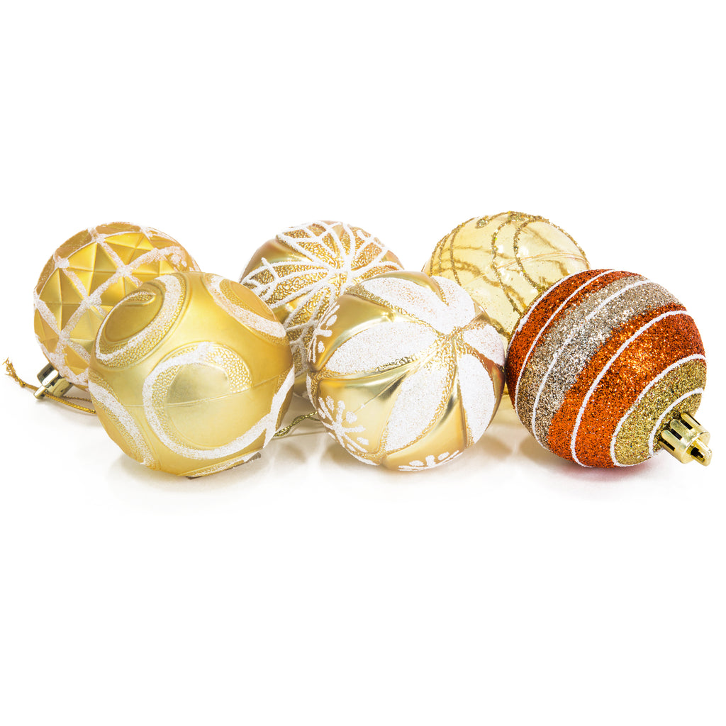 "2.36""/60mm Set of 24 Handcrafted Christmas Ball Ornaments - Gold"