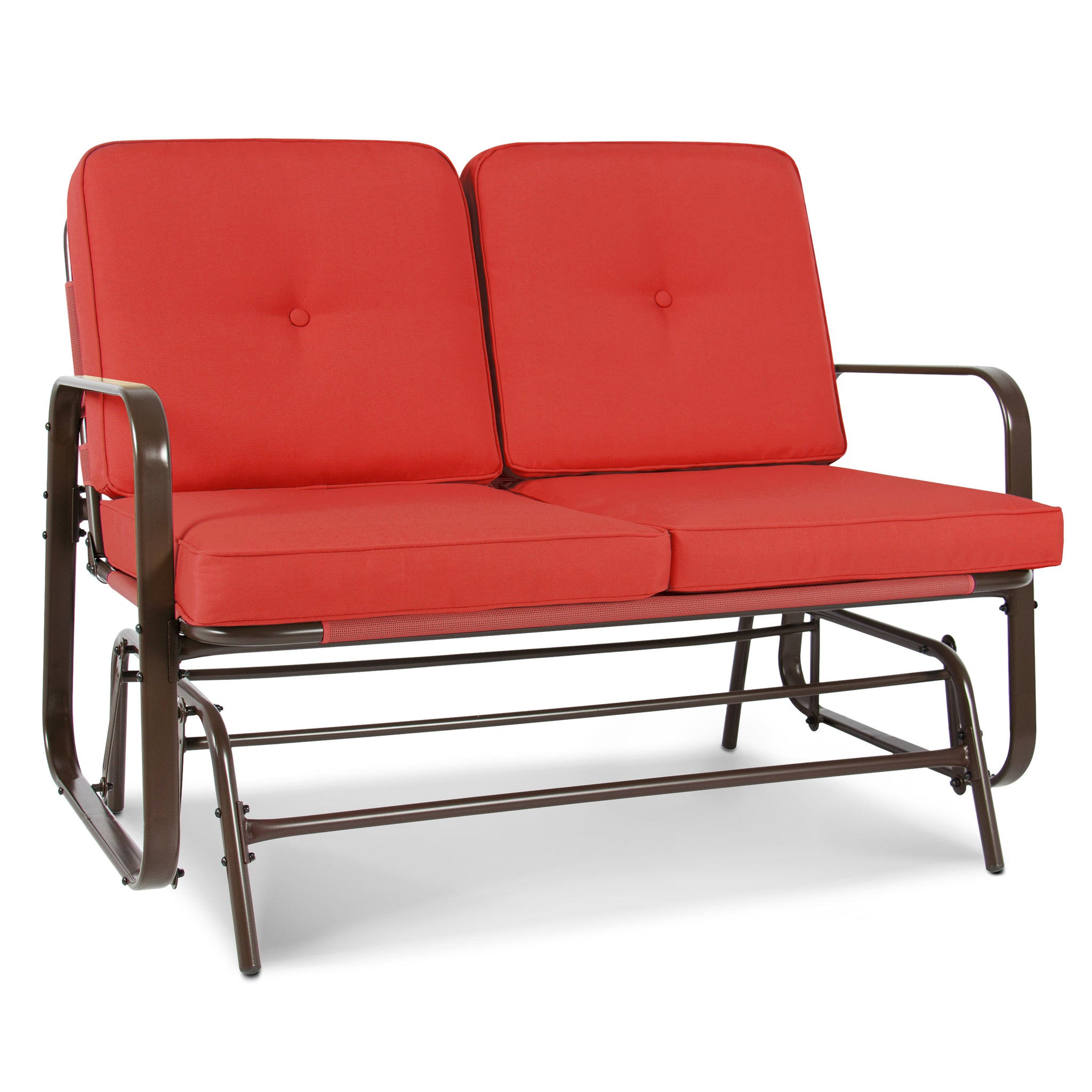 2 Person Loveseat Glider Rocking Chair Bench   Red Orange