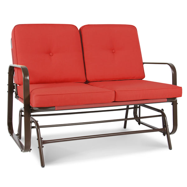 2 Person Loveseat Glider Rocking Chair Bench - Red Orange