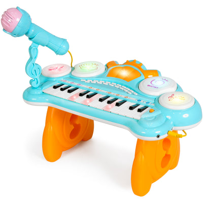 Kids Toddler Learning Lighted Electronic Keyboard Piano, W/ 24 Keys, Drum, Microphone (Ages 18 Months And Up)