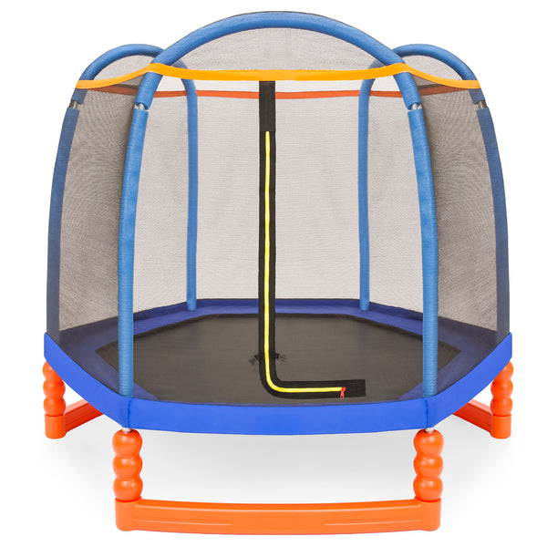 7FT Kids Outdoor Mini Trampoline w/ Enclosure Safety Net Pad