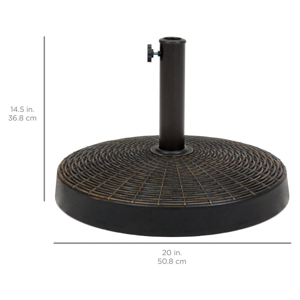 Wicker Styled Resin Umbrella Base Stand - Blackened Bronze