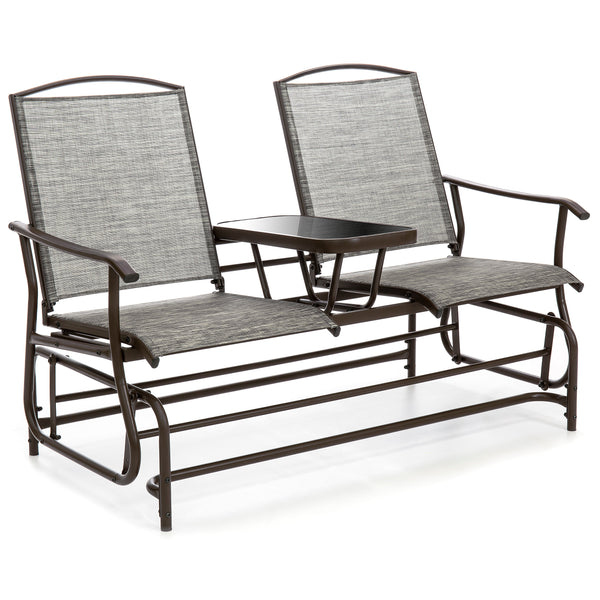 2-Person Mesh Double Glider w/ Tempered Glass Attached Table - Gray