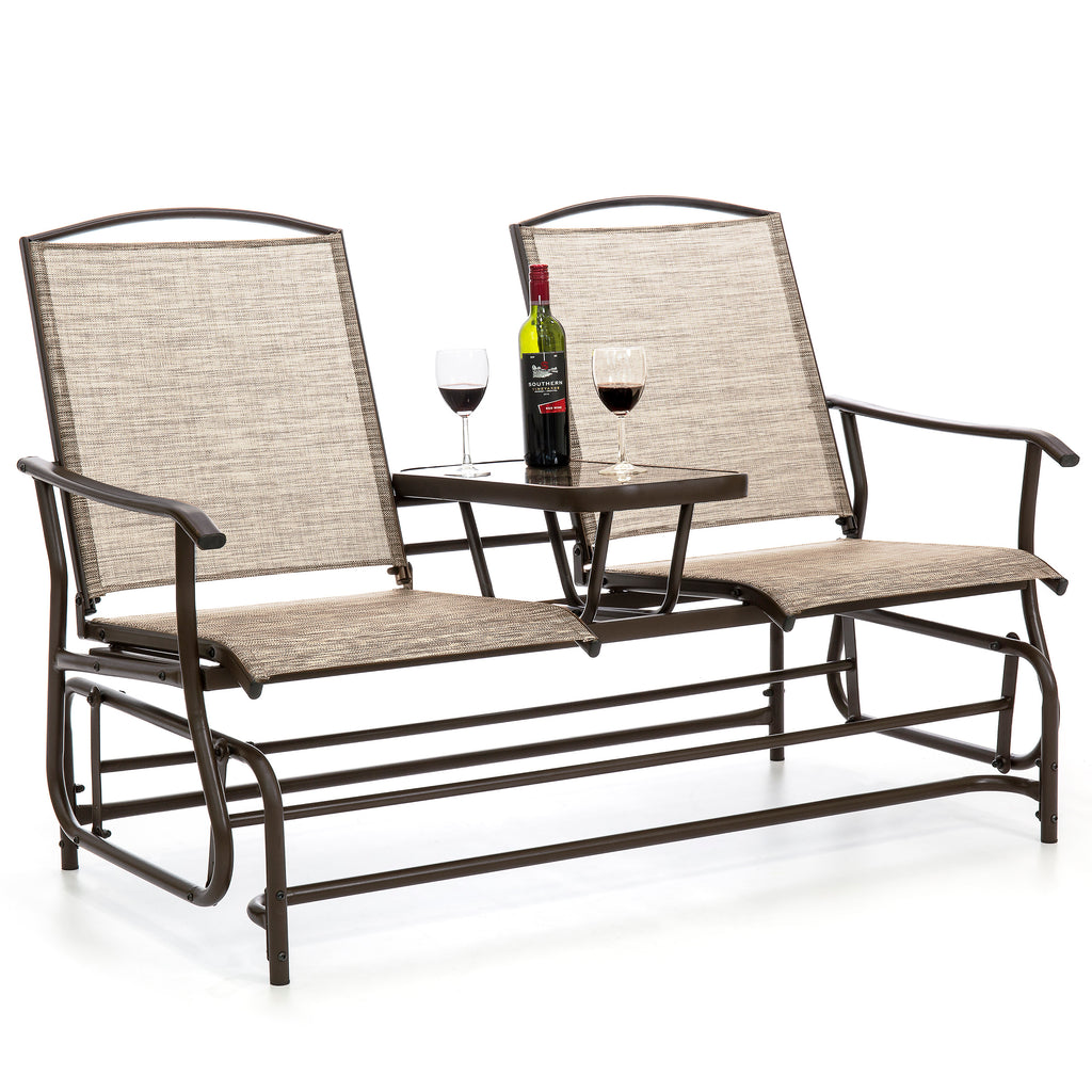 2-Person Outdoor Mesh Double Glider w/ Tempered Glass Attached Table