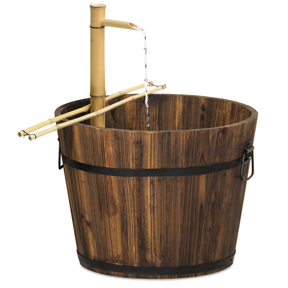 Outdoor Bamboo Water Fountain Decor w/ Pump – Best Choice Products