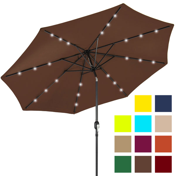 10ft Deluxe Solar LED Lighted Patio Umbrella w/ Tilt Adjustment - Brown