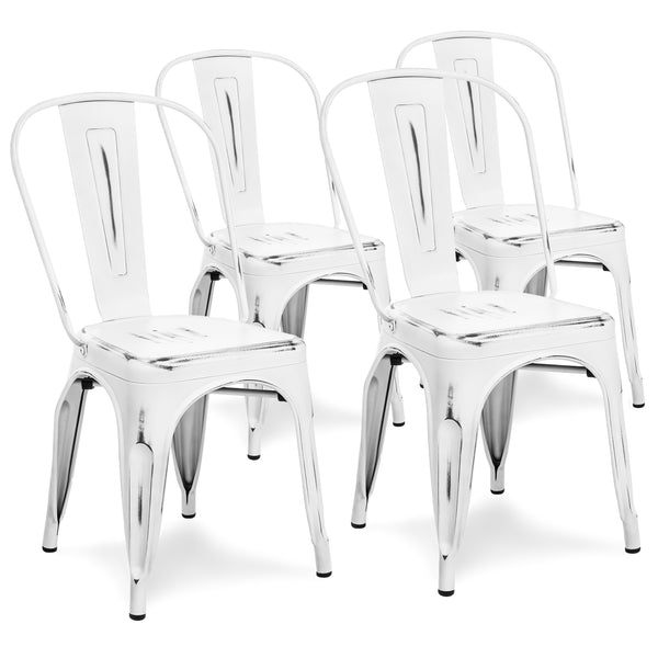 Set of 4 Industrial Metal Dining Chairs - Distressed White