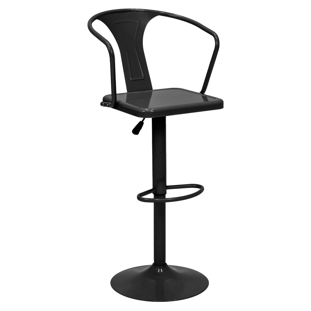 Height Adjustable Metal Bar Stool with Back Support
