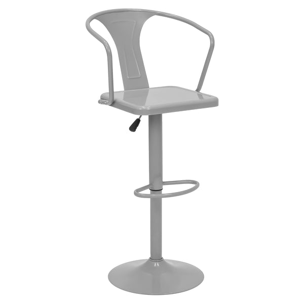 Height Adjustable Metal Bar Stool with Back Support - Silver