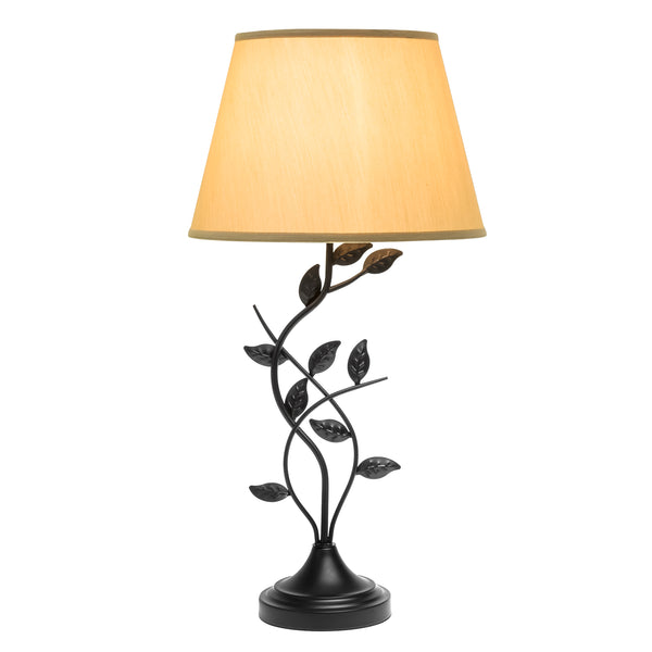 30 Transitional Style Leaf Design Table Lamp w/ Beige Shade - Matte Black