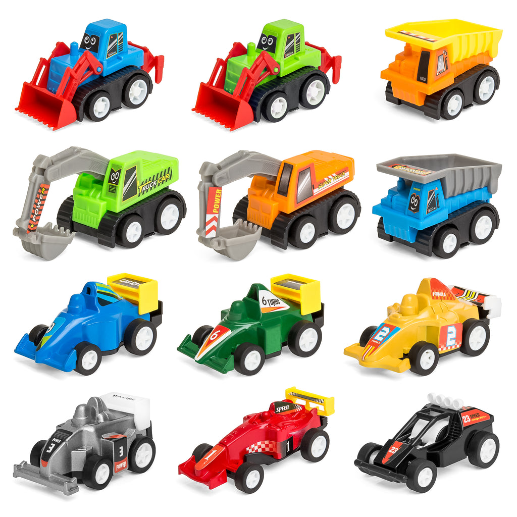 Set of 12 Assorted Pull-Back Toy Cars w/ Construction Trucks, Race Cars