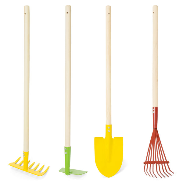 4-Piece Kids Garden Tools Set w/ Rake, Shovel, Hoe and Leaf Rake