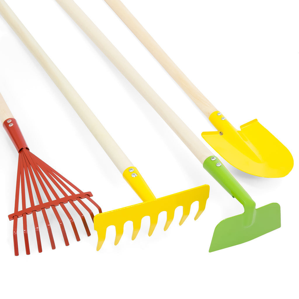 4-Piece Kids Outdoor Gardening Tool Set w/ Rake, Shovel, Hoe, Leaf Rake