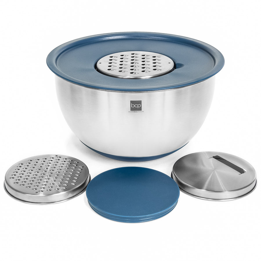 Set of 3 Stainless Steel Mixing Bowls - Blue/Silver