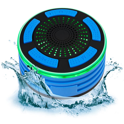 Portable IP67 Waterproof Wireless Bluetooth Speaker Shower FM Radio Built-In Speakerphone LED Lights (Blue)