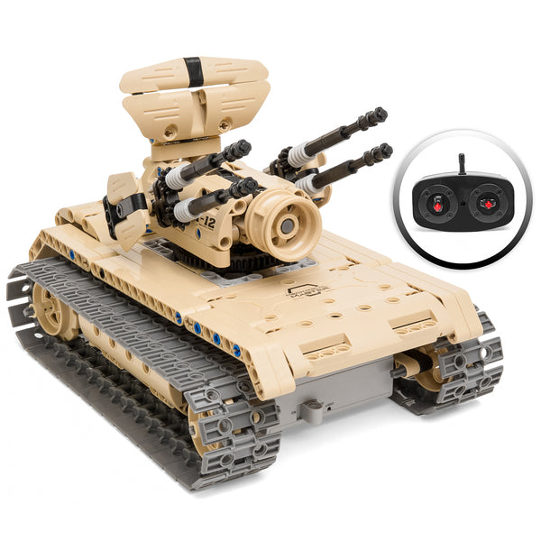 453-Piece RC Military Battle Tank Building Bricks Toy Kit - Tan