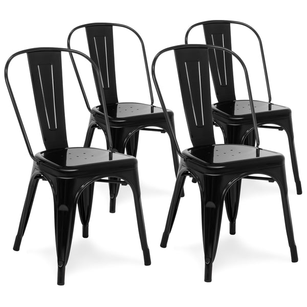 Set of 4 Industrial Metal Dining Chairs - Black