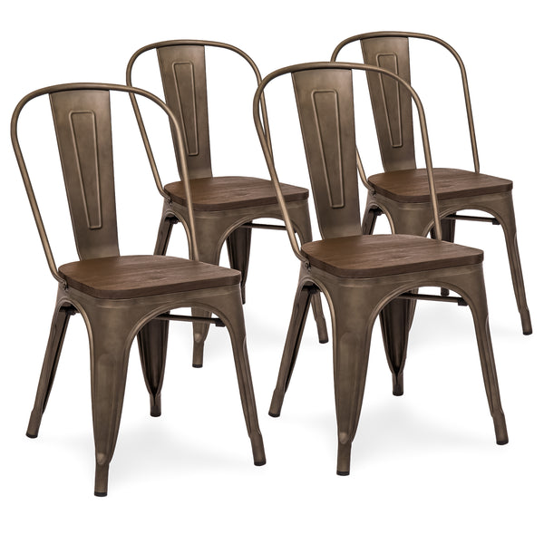 Set Of 4 Industrial Distressed Metal Dining Chairs w/ Wood Seat - Copper Bronze