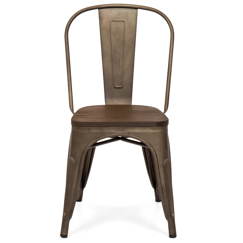 Set Of 4 Industrial Distressed Metal Dining Chairs W Wood Seat