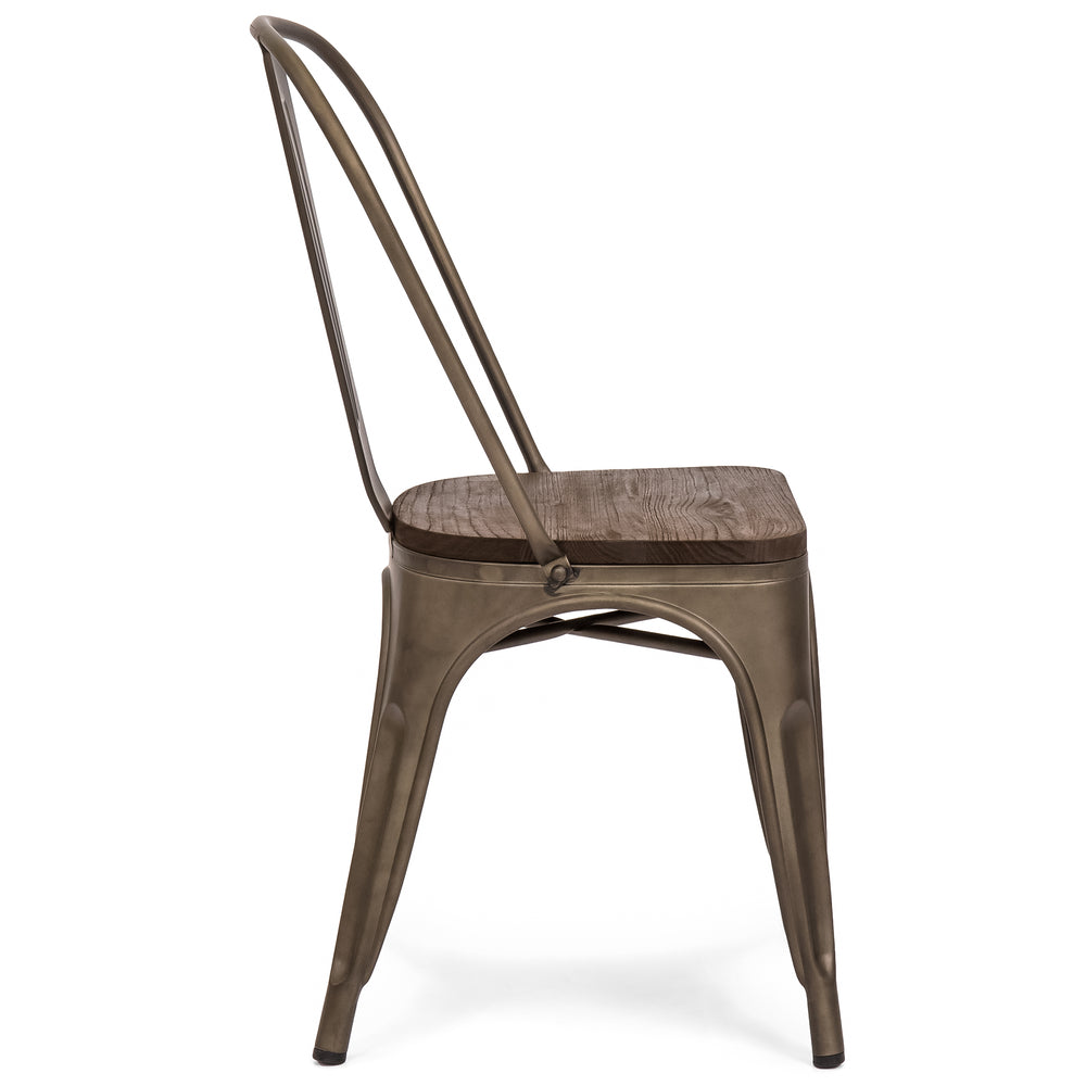 distressed metal furniture. Set Of 4 Industrial Distressed Metal Dining Chairs W/ Wood Seat - Copper Bronze Furniture