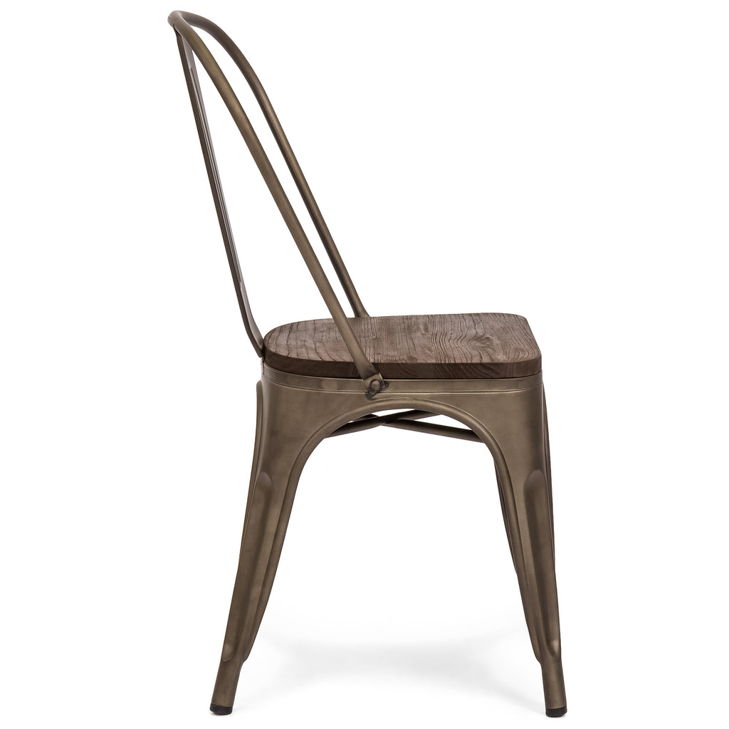 Set Of 4 Distressed Metal Dining Chairs w/ Wood Seat