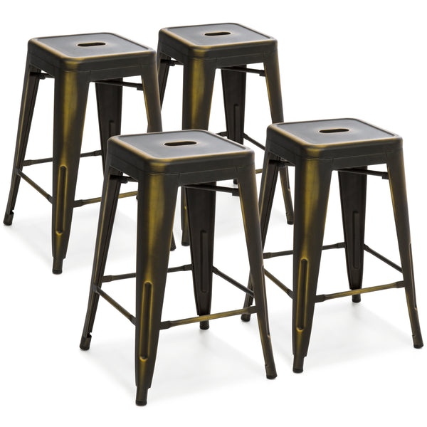 24in Set of 4 Stackable Bar Stools - Distressed Copper