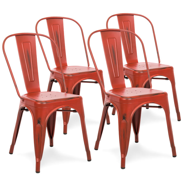 Set of 4 Industrial Metal Dining Chairs - Distressed Red