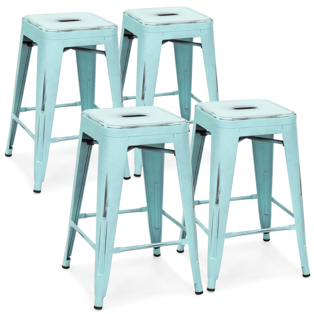 24in Set of 4 Stackable Bar Stools - Distressed Blue – Best Choice ...
