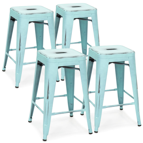 24in Set of 4 Stackable Bar Stools - Distressed Blue